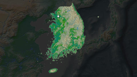 South Korea and capital circled and zoomed. Physical Animation