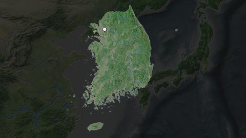 South Korea and capital circled and zoomed. Satellite Animation