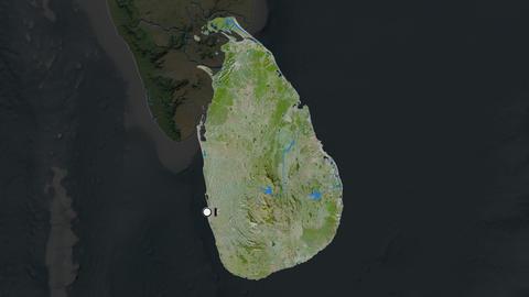 Sri Lanka and capital circled and zoomed. Satellite Animation