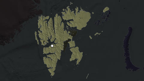 Svalbard and capital circled and zoomed. Administrative Animation
