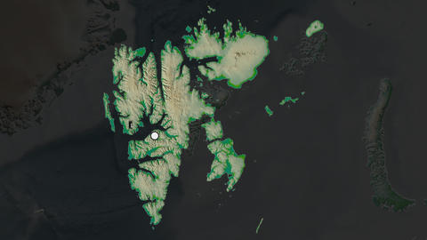 Svalbard and capital circled and zoomed. Physical Animation