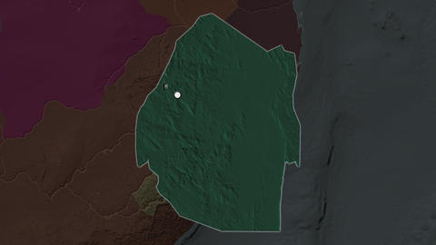 Swaziland and capital circled and zoomed. Administrative Animation