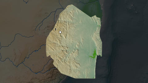 Swaziland and capital circled and zoomed. Physical Animation