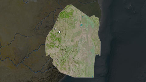 Swaziland and capital circled and zoomed. Satellite Animation