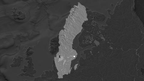 Sweden and capital circled and zoomed. Bilevel Animation