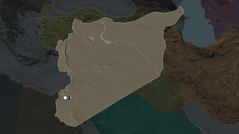 Syria and capital circled and zoomed. Administrative Animation
