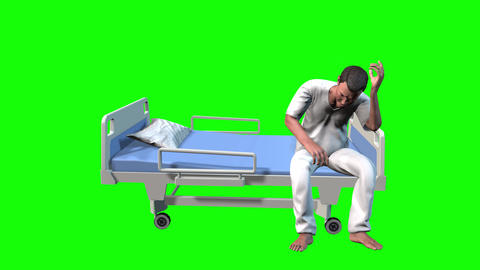 737 4k 3d animated hospital AVATAR patience worried about his diagnosis Animation