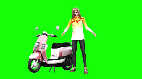 743 4k 3d animated AVATAR young girl stands by motor scooter and talks Animation