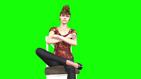 745 4k 3d animated AVATAR womann seat on chair and communicates Animation
