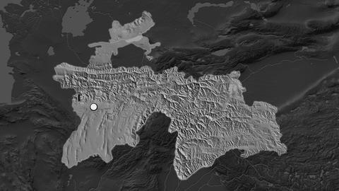 Tajikistan and capital circled and zoomed. Bilevel Animation