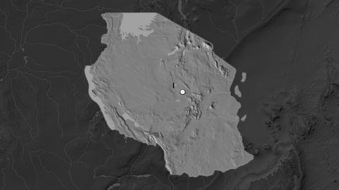 Tanzania and capital circled and zoomed. Bilevel Animation
