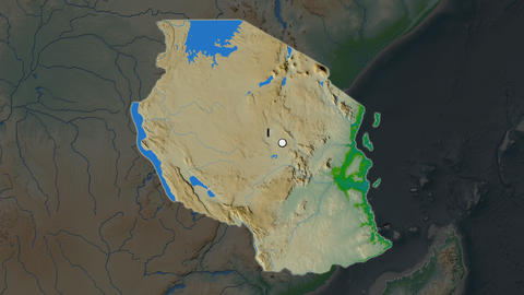 Tanzania and capital circled and zoomed. Physical Animation
