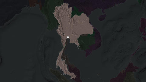 Thailand and capital circled and zoomed. Administrative Animation