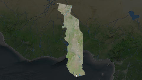 Togo and capital circled and zoomed. Satellite Animation