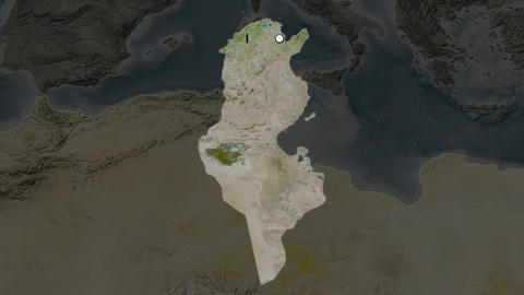 Tunisia and capital circled and zoomed. Satellite Animation