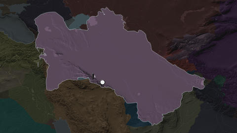 Turkmenistan and capital circled and zoomed. Administrative Animation