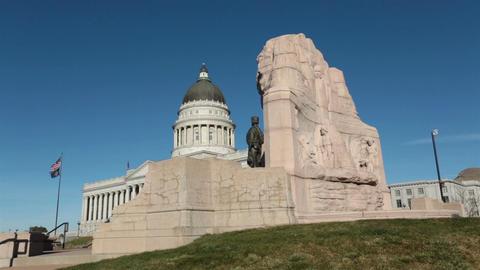 Utah State Capital building Mormon Battalion Monument HD 4659 Footage