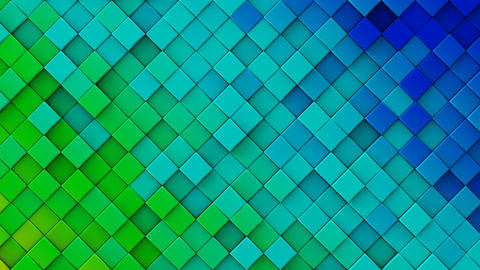 Blue green gradient of rhombs 3D render loopable animation Animation