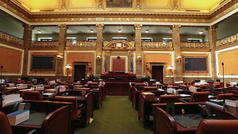Utah State Capital Congress Representative Chamber pan HD 4767 Footage