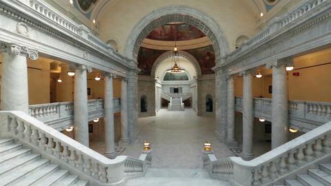 Utah State Capital pan balcony stairs across rotunda floor HD 4779 Footage
