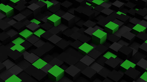 Green and black 3D boxes. Loopable abstract background Animation