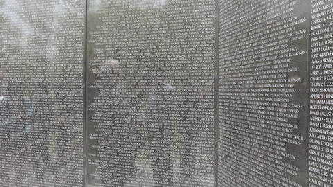 Vietnam Veterans Memorial names on wall 4K 053 Footage