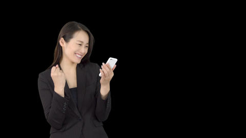 Young Japanese business woman using iphone 2 Footage
