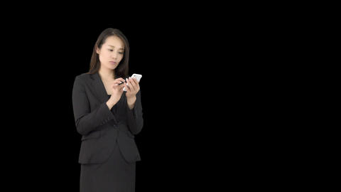 Young Japanese business woman using iphone 3 Footage