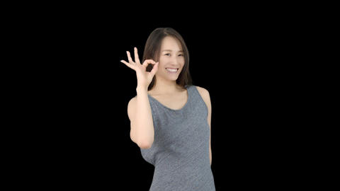 Japanese woman ok sign Footage