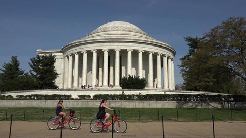 Washington DC Jefferson Monument bike riders 4K 066 Footage