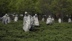 Washington DC Korean War Veterans Memorial soldiers park 4K 016 Footage