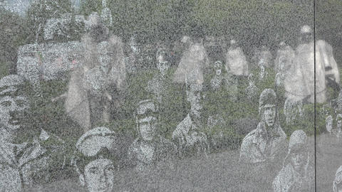 Washington DC Korean War Veterans Memorial soldiers reflection wall 4K 021 Footage