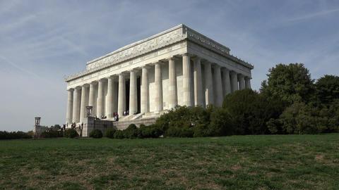 Washington DC Lincoln Memorial corner steps lawn view 4K 002 Live Action