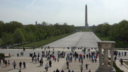 Washington DC Lincoln Memorial front to Washington Memorial tourism 4K 008 Footage