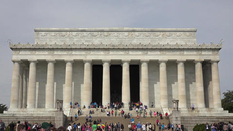 Washington DC Lincoln Memorial historic building tourism crowd 4K 014 Footage