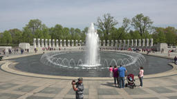 Washington DC National World War II Memorial fountain tourists 4K 027 Footage