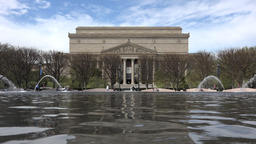 Washington DC US Archive Building across water fountain 4K Live Action