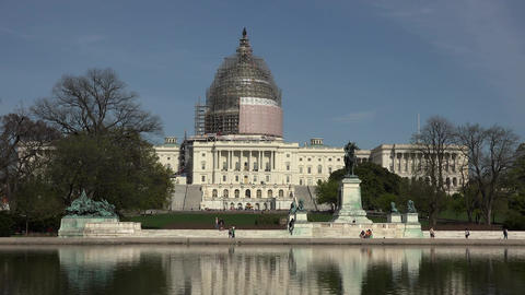 Washington DC US Capitol Building across water pool scaffold 4K 043 Footage