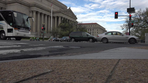 Washington DC US Archive Building road busy traffic fast 4K 045 Footage
