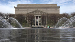 Washington DC USA National Archive Building across water fountain fast 4K 042 Footage