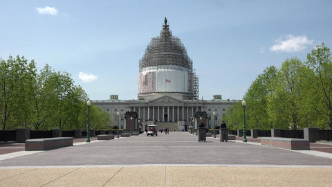 Washington DC US Capitol building sidewalk to entrance 4K 029 Footage