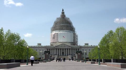 Washington DC US Capitol building walking to entrance 4K 030 Footage