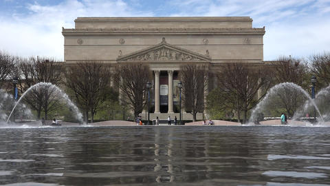 Washington DC USA National Archive Building across water... Stock Video Footage