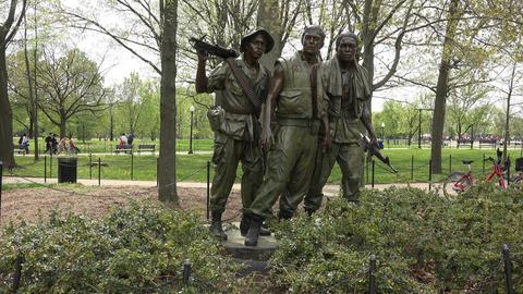 Washington DC Vietnam Veterans Memorial The Three Soldiers 4K 058 Footage