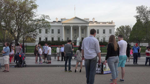 Washington DC White House demonstrator and tourists 4K Footage