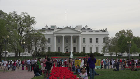 Washington DC White House tourists demonstrators 4K Footage
