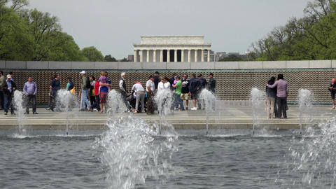 Washington DC World War II Memorial fountain Lincoln Memorial 4K 040 Footage