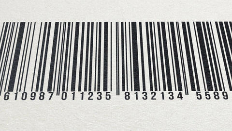 Animation of barcode on paper texture (numbers in... Stock Video Footage