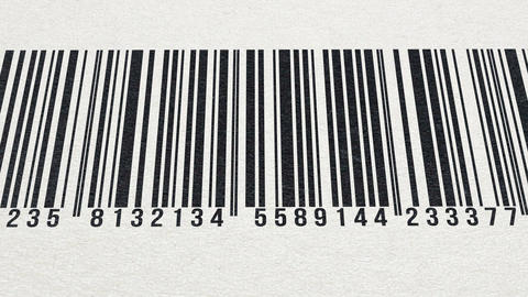 Animation of barcode on paper texture (numbers in Fibonacci sequence) Animation