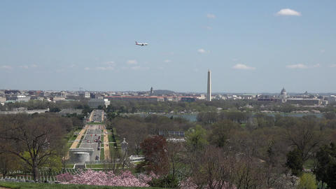 Washington DC city from Arlington National Cemetery airplane landing 4K Footage